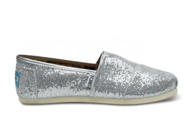 TOMS Silver Glitter Flat Shoes $71 http://bit.ly/14k6U2L