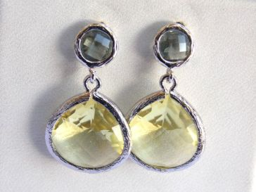 Gray Earrings Grey Yellow Earrings Citrine Silver by mlejewelry $27 http://etsy.me/14jY6Kk
