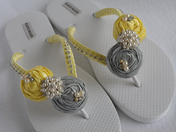 Yellow & Gray Wedding Flip Flops $38.99 http://etsy.me/16h30e8